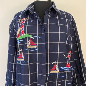 button front embroidered blouse sailboats navy